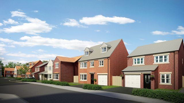 Row of new build homes CGI