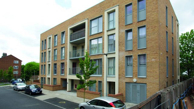 Exterior view of 4-storey flats in Hounslow
