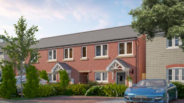 Row of new build homes CGI